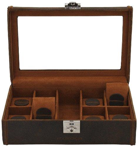 Friedrich 23 Uhrenkasten Cubano Leder braun für 8 Uhren 29 x 19 x 9 5 cm 27022-3