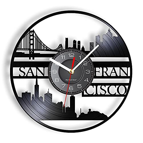 San Francisco Skyline RECUPRADO REPURADO RECORRIDO DE VINILLO RELOJ DE LA PARED GOLDING GATE PUENTE PUENTE AMERICANA CIUDADA VINTAGE