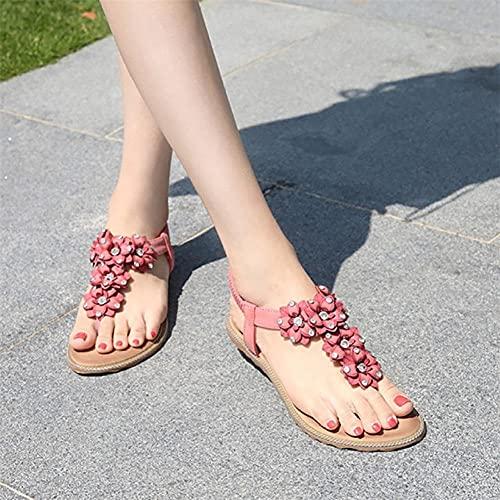 LYNLYN Sandalias Ladies de Verano Zapatos Planos Casuales Sandalias de Playa Zapatos de Mujer Bohemian Cristal Flor Zapatillas Sandalias Dulces Sandalias de Mujer (Color : Pink, Size : 38)