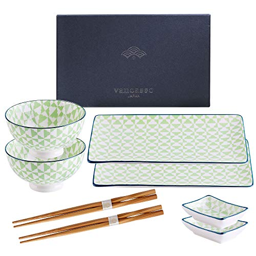 vancasso Sushi Set, Porzellan MIDORI japanische Ess Service, 8-teilig Geschirr-Set für 2 Personen