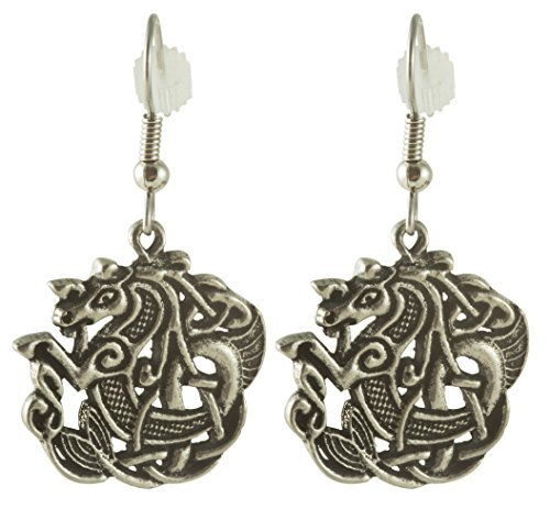 Celtic Sea Horse Pewter Earrings