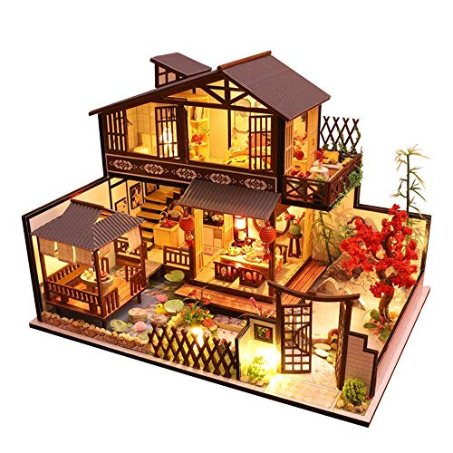 Taoke DIY Miniatur-Puppensatz, DIY Puppenstuben Kit Gebäude Hut Modell Puppenhaus Plus-Staub-Beweis-Miniatur mit Möbeln for Mädchen-Spaß Bildung und Vollkommene Dekoration 8bayfa
