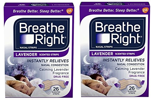 Breathe Right Calming Lavender Scented Drug-Free Nasal Strips for Nasal Congestion Relief - 2 Packages (26 count)