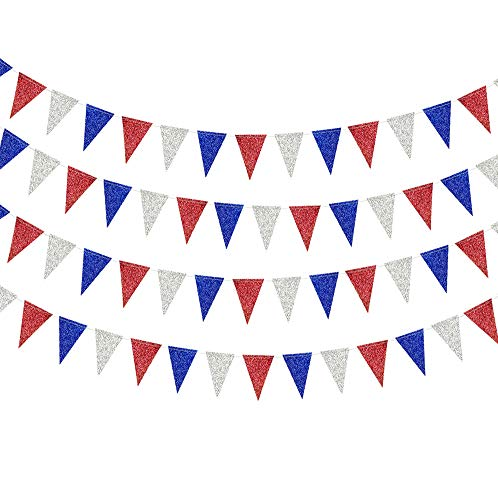 Decor365 Red Blue Silver/White National Day Patriotic Triangle Flag Banner Fourth/4th of July USA American Independence Day Celebration Party Garland Hanging Decoration for Birthday/Baby Shower
