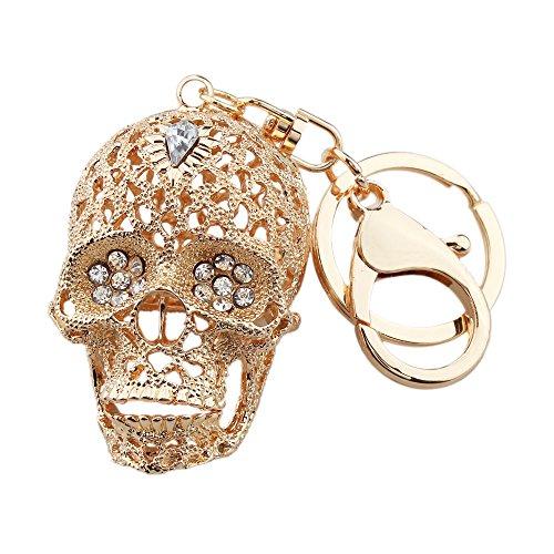 FOY-MALL Creative Skull Crystal Rhinestone Alloy Men/Women Car or Bag Keychain Gift H1034