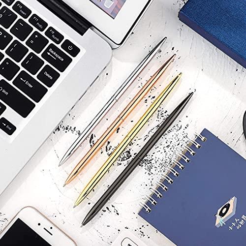8 Piece Metal Ballpoint Pen Set, Metal Twist Black Ink Pen Slim Metallic Ballpoint Pens Writing Pen, Home School Office Supplies for Students Teachers, Gold, Rose Gold, Steel, Silver Photo #7