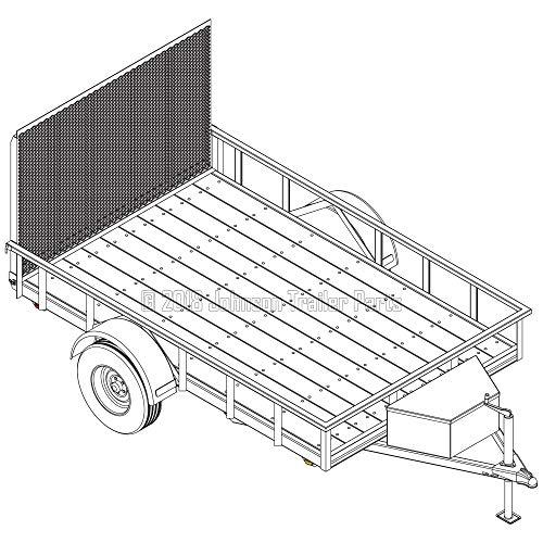 "6′ 4"" x 10′ Utility Trailer Plans – 3,500 lb Capacity   Trailer Blueprints Model U76-120-35J"