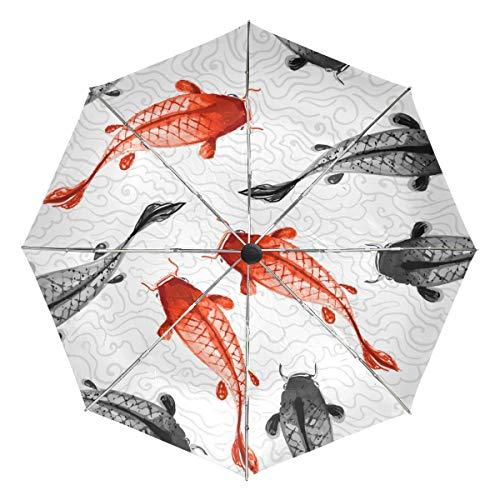 Paraguas de Viaje pequeño a Prueba de Viento al Aire Libre Lluvia Sol UV Auto Compacto 3 Pliegues Cubierta de Paraguas - Carpas Rojas y Negras Tradicional japonés