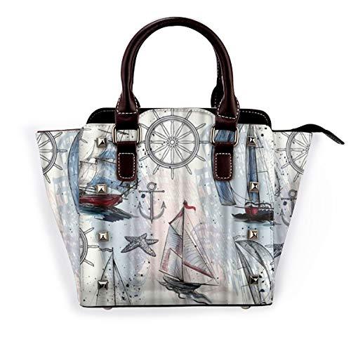BROWCIN Nautisches Segelboot Bild im europäischen Stil Abnehmbare mode trend damen handtasche umhängetasche umhängetasche