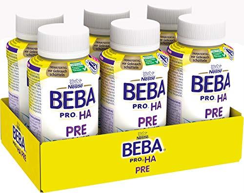 Nestlé BEBA PRO HA PRE Hypoallergene Säuglings-Anfangsnahrung, hydrolysierte Baby-Nahrung, trinkfertig, von Geburt an, 6er Pack (6 x 200ml)