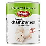 D'Amico Funghi Champignon Tagliati e Lessati al Naturale, 800g