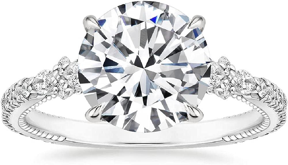 Siyaa Gems 4.20 CT Round Moissanite Engagement Ring Wedding Brid