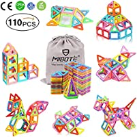 MIBOTE (110 PCS) Magnetic Building Blocks Educational Stacking Blocks Toddler Toys for Preschool Boys Girls Educational...