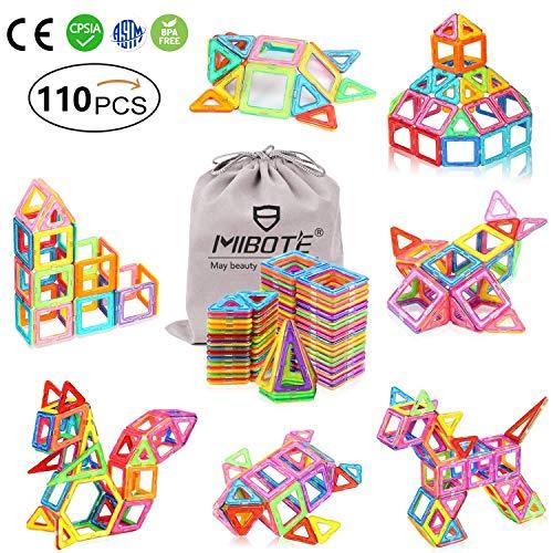 MIBOTE 110 PCS Magnetic Building Blocks Educational Toys Magnet Tiles Set Stacking Blocks for Toddler Kids
