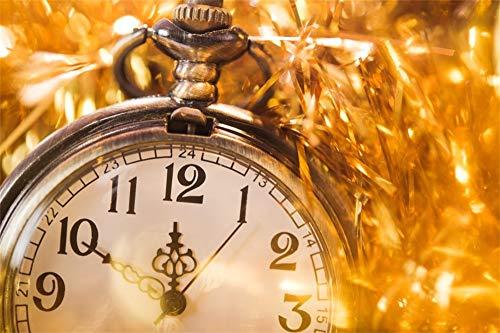 YongFoto 5x3ft Fotografie Achtergrond Vrolijk Kerstmis Retro Klok Horloge Aftellen tot Middernacht 12 O'clock Foto Backdrops Vakantie Feest Viering Huisdier Familie Portret Fotoshoot Achtergrond Studio Props