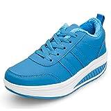 Zapatos Deporte Mujer Nieve Zapatillas de Deportivos Zapatos para Caminar Gimnasia Ligero Sneakers Invierno Plataforma Botas de Botines 38.5EU = Fabricante:39 Azul