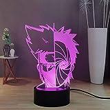 Veilleuse LED Naruto Obito Mask, Kakashi Sharingan 3D Illusion Table Lamp Decor, USB Touch & Remote Control Night Lamp avec 16 réglables, excellent cadeau pour les enfants