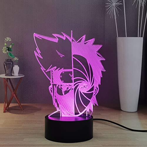 Nachtlicht LED Naruto Obito Mask, Kakashi Sharingan 3D Illusion Tischlampe Decor, USB Touch & Remote Control Night Lamp mit 16 verstellbaren Einstellungen, tolles Geschenk für Kinder