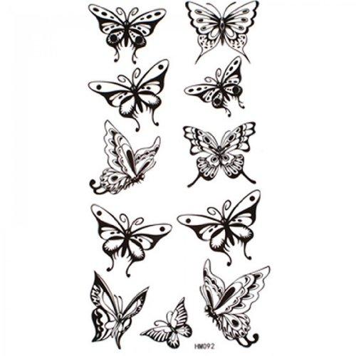 SPESTYLE Impermeable no tóxico tatuaje temporal pegatinas impermeables y sudor tatuajes temporales sexy mariposa negra