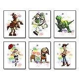 "Modern Minimalist Cartoons Watercolor Graffiti Splash Toy Story Art Painting Set of 6 (8""X10""Canvas Picture) Kids Boys Birthday Gift Game Room Decor Art Prints Children Nursery Wall Poster No Frame"