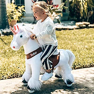PonyCycle Official Classic U Series Ride on White Horse Unicorn Toy Plush Walking Animal Small Size for Age 3-5 U304