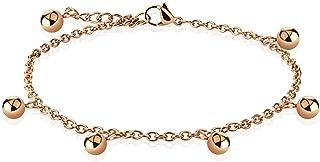 Cavigliera/bracciale a catena in acciaio inossidabile oro rosa con ciondoli a sfera multipla