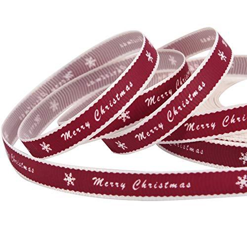 65,6 Piedi Nastro di Natale Nastro di Merry Christmas in Gros-Grain Nastro da Regalo Confezione per Natale Festa Bomboniere Decorazione Festival