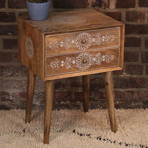 Casa Moro Orientalische Kommode Kalidas aus Echtholz 45x38x64 cm (B/T/H) mit 2 Schubladen | Kunsthandwerk aus Indien | Nachttisch schmal mit Füßen | Designer Holz-Kommoden handbemalt