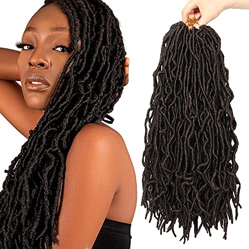 7 Packs Nu Soft Locs Crochet Hair 18 Inch Faux Locs Crochet Braids Curly Wavy Goddess Locs Hair African Roots Synthetic Braiding Hair Extensions for Women (18 Inch, 4#)