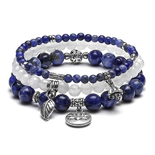 CrystalTears 3er Set Yoga Armbänder Damen Stein Perlenarmband Healing Reiki Edelstein Stretcharmband Silber Lotus Charm Armband (Sodalit)
