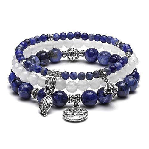 JOVIVI 3pcs Natural Sodalite Crystal Beaded Chakra Bracelet Healing Energy Beads Stone Therapy Reiki Stackable Stretch Bracelets Set for Women