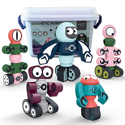 Infacter Direct Magnetic Robots for Kids,35PCS Magnetic Blocks Set with Storage Box, Stacking Robots Building Kit Toy STEM Educational Playset for Boys and Girls Ages 3-6