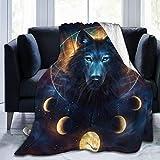 Fantasy Wolf Moon Galaxy Flannel Fleece Throw Blanket - Funny Crazy Lightweight Microfiber Decor Blanket, Soft, Cozy, Warm, Perfect for Bed Sofa, 50'x60'