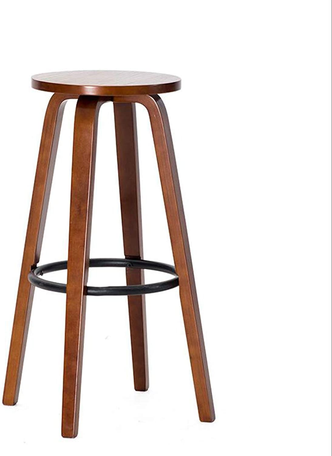 Bar Stool Bar Chair Modern Minimalist Personality Bar Chair Creative Solid Wood Round Chair Home Living Room Bar Stool (color   Brown)