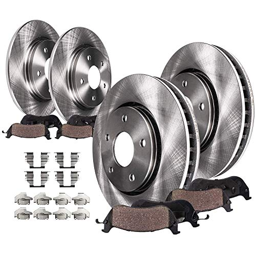 Detroit Axle - 262mm FRONT & 260mm REAR Disc Brake Rotors Ceramic Pads w/Hardware Replacement for 2006 2007 2008 2009 2010 2011 Honda Civic w/ 4 Wheel Disc Brakes - See Fitment
