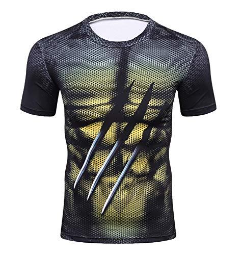 Triv Men's Compression Xmen Wolverine Workout Short Sleeve T Shirt (Wolverine, Large)