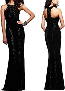 35f277fee053 Ovender® Vestiti Eleganti Lunghi da Donna Ragazza Abito Vestito Donne  Ragazze Impero Formale Elegante Lungo