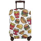 DJNGN Hamburger Hot dog French fries Funda de equipaje de viaje, Protector de maleta de viaje, Funda de maleta antiarañazos Se adapta a equipaje de 18 a 28 pulgadas