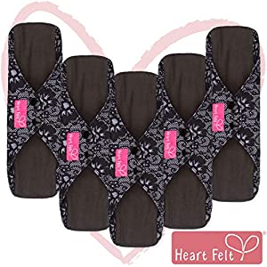 Bamboo Charcoal Reusable Sanitary Pads X 5 with HEAVY Flow Absorbency Layer and Size. The Smartest New Way to Avoid Leaks, Odors and Staining. Save Hundreds of Dollars and Massive Amounts of Landfill