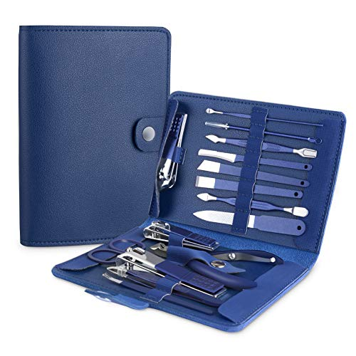 Manicure Set, Pedicure Kit, Nail Clippers, Professional Grooming Kit, Nail Tools 15 in 1 with Luxurious Travel Case for Men and Women 2020 Upgraded Version Blue (Blue 15 in 1)