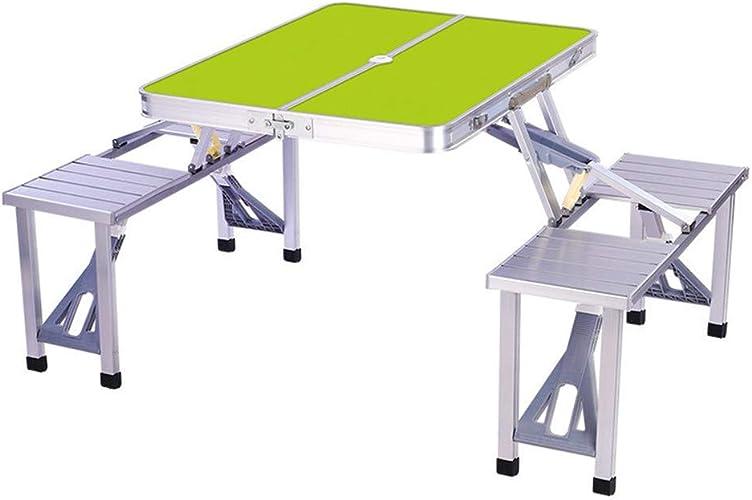 HSRG Table de Camping Pliante avec 4 sièges Table de Camping en Aluminium portative pour fête, Pique-Nique, Cours, Barbecue, Plage, Table de Jeu,vert