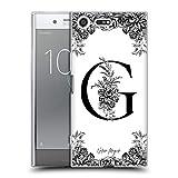 Head Case Designs Oficial Nature Magick Letra G B & W Floral Monograma 1 Carcasa de Gel de Silicona Compatible con Sony Xperia XZ Premium