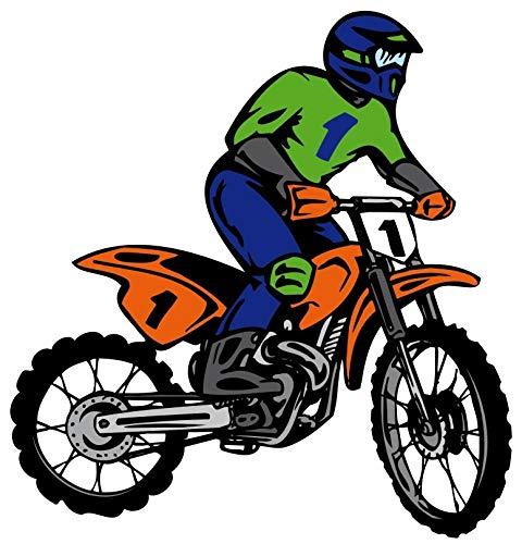Samunshi® Buntes Motocross Wandtattoo Digitaldruck Motox Motorrad in 3 Größen (58x60cm Mehrfarbig)