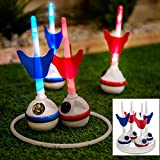 Fineway. Coloured Led Giant Garden Darts Ring Outdoor Throwing Family Fun Party Lawn Bbq Game Glow In the Dark Indoor Outdoor Family Fun Game  Comes with 4 Darts and 4 Rings