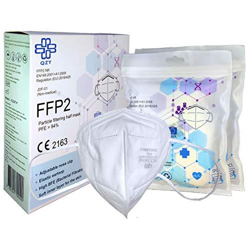 FFP2 Maske Schachtel à 10 Stück CE Zertifiziert Masken Mit Gummiband und anpassbarem Nasenbügel 5 Filtrationsschichten, Maske Mundschutz [QZY Atemschutzmaske]