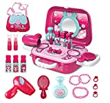 Clickwoo Kids Makeup Kit for Girl, Pretend Makeup for Girlswith Portable Case Belt 2-in-1 Makeup Salon for Toddlers, Makeup Kit for Girls Pretend Game, Makeup Set for Kids Birthday