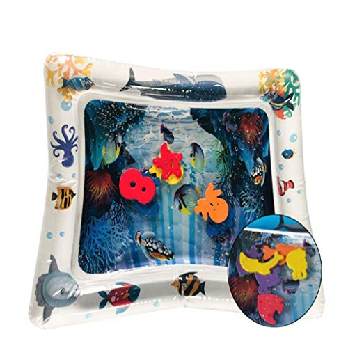 CHshe Wassermatte Baby, 60 X 50 cm Ozean Welt Thema Aufblasbare Wasserpolster Pad Kinder Baby Wasser-Spielmatte Spaß Aktivitätszentrum von Spielzeug Das Wachstum Spielzeug (Weiß)