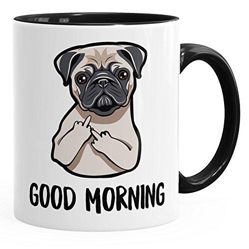 MoonWorks Kaffee-Tasse Good Morning böser Mops Mittelfinger Büro-Tasse Teetasse Keramiktasse schwarz Unisize