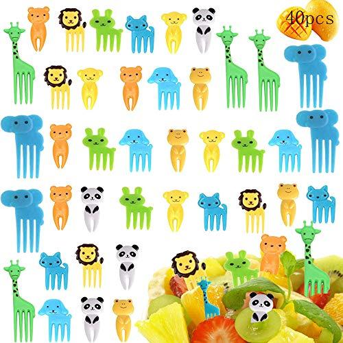 MEISHANG 40pcs Obst Gabel,Tiere Zahnstocher,Cartoon Kinder Obst Gabel,Zahnstocher Party Kinder,Cartoon Obst Gabel,Obstgabel Klein,Obstgabeln Kinder,Cartoon Gabel