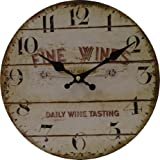 Wanduhr Vintage Design Kunststoff analog antik Wand Uhr 'Fine Wines - Daily Wine Tasting' Nostalgie Look Holz braun creme